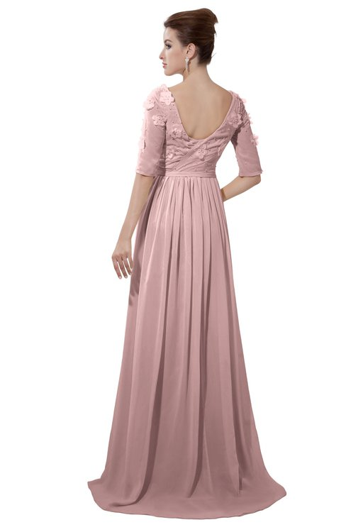 ColsBM Emily Silver Pink Casual A-line Sabrina Elbow Length Sleeve Backless Beaded Bridesmaid Dresses