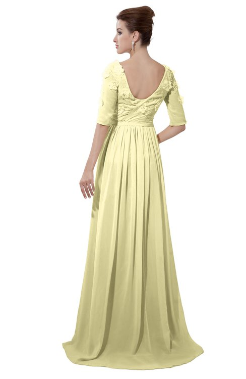 ColsBM Emily Soft Yellow Casual A-line Sabrina Elbow Length Sleeve Backless Beaded Bridesmaid Dresses