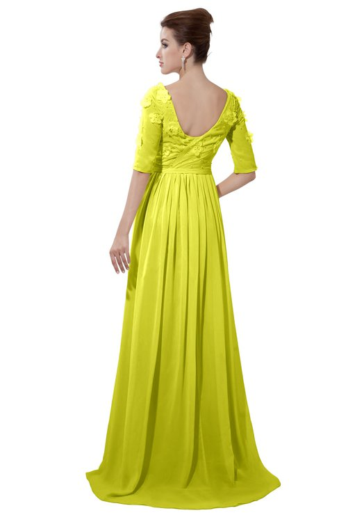 ColsBM Emily Sulphur Spring Casual A-line Sabrina Elbow Length Sleeve Backless Beaded Bridesmaid Dresses