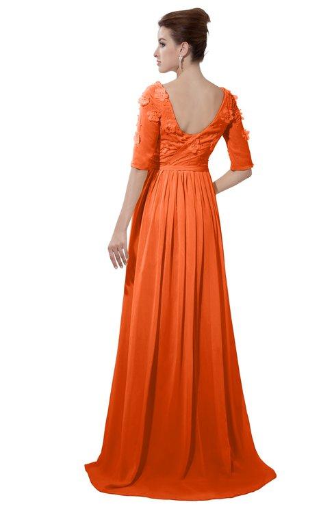 ColsBM Emily Tangerine Casual A-line Sabrina Elbow Length Sleeve Backless Beaded Bridesmaid Dresses