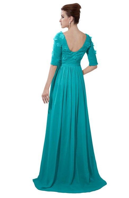 ColsBM Emily Teal Casual A-line Sabrina Elbow Length Sleeve Backless Beaded Bridesmaid Dresses