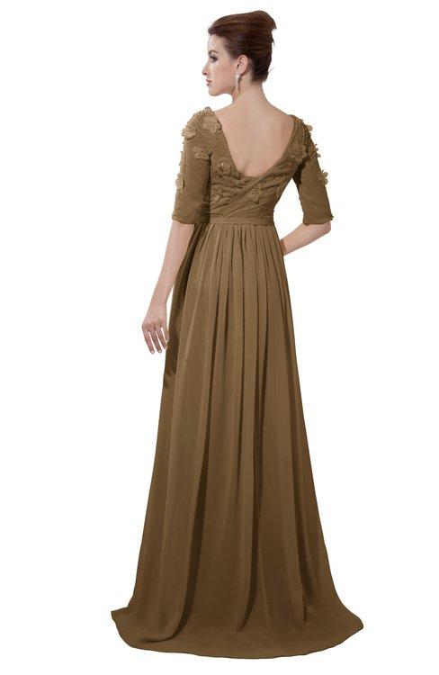 ColsBM Emily Truffle Casual A-line Sabrina Elbow Length Sleeve Backless Beaded Bridesmaid Dresses