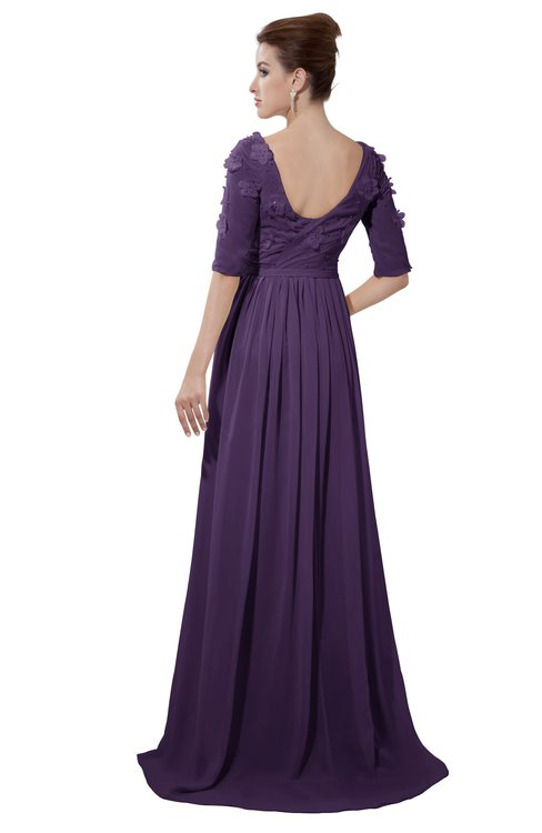 ColsBM Emily Violet Casual A-line Sabrina Elbow Length Sleeve Backless Beaded Bridesmaid Dresses