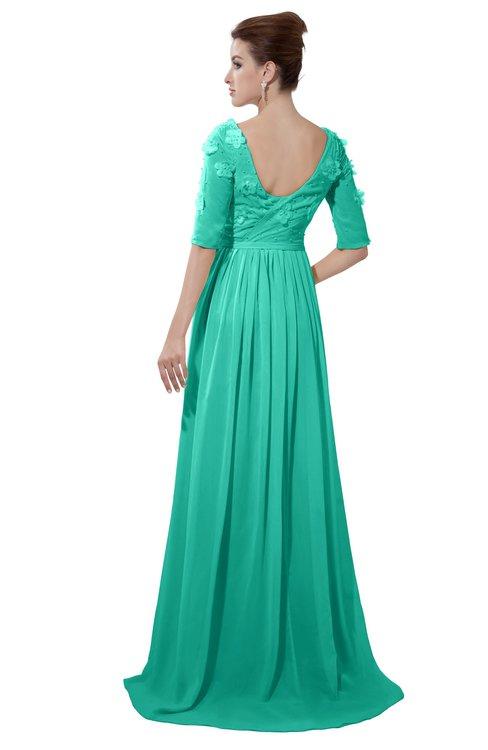 ColsBM Emily Viridian Green Casual A-line Sabrina Elbow Length Sleeve Backless Beaded Bridesmaid Dresses