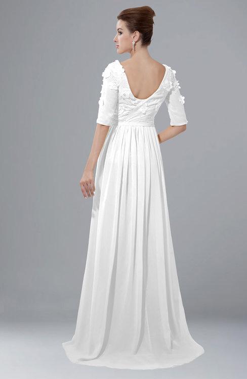 ColsBM Emily White Casual A-line Sabrina Elbow Length Sleeve Backless Beaded Bridesmaid Dresses