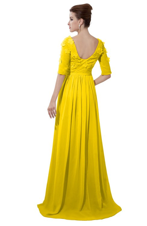 ColsBM Emily Yellow Casual A-line Sabrina Elbow Length Sleeve Backless Beaded Bridesmaid Dresses