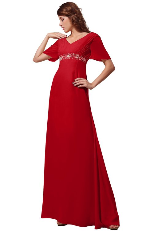 ColsBM Alaia Red Modest Short Sleeve Chiffon Floor Length Beading Bridesmaid Dresses