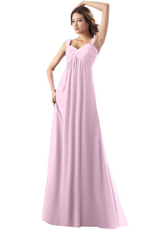 ColsBM Diana Baby Pink Modest Empire Thick Straps Zipper Floor Length Ruching Prom Dresses