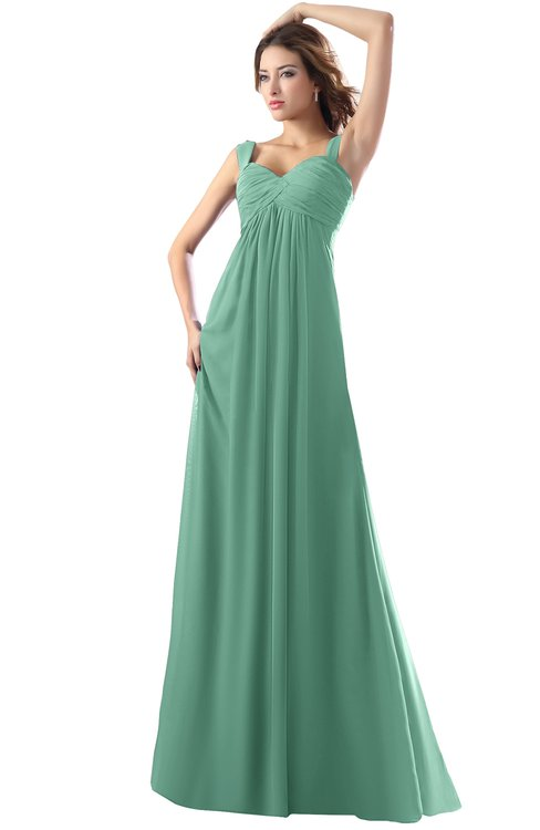 ColsBM Diana Beryl Green Modest Empire Thick Straps Zipper Floor Length Ruching Prom Dresses