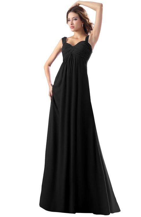 ColsBM Diana Black Modest Empire Thick Straps Zipper Floor Length Ruching Prom Dresses