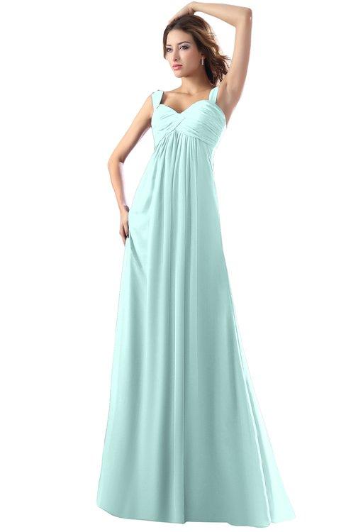 ColsBM Diana Blue Glass Modest Empire Thick Straps Zipper Floor Length Ruching Prom Dresses