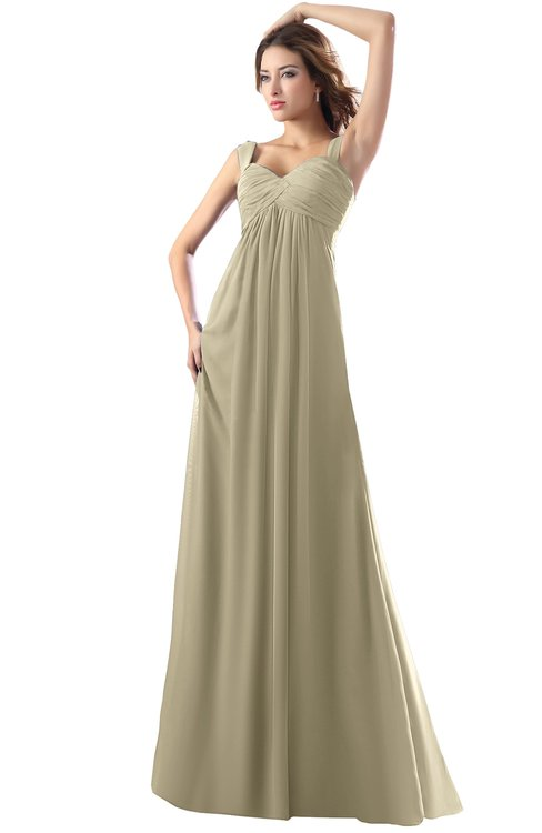 ColsBM Diana Candied Ginger Modest Empire Thick Straps Zipper Floor Length Ruching Prom Dresses