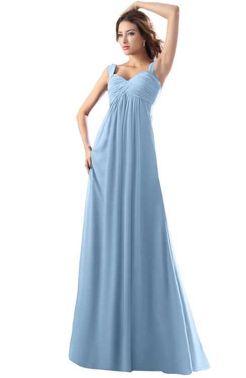 ColsBM Diana Dusty Blue Modest Empire Thick Straps Zipper Floor Length Ruching Prom Dresses