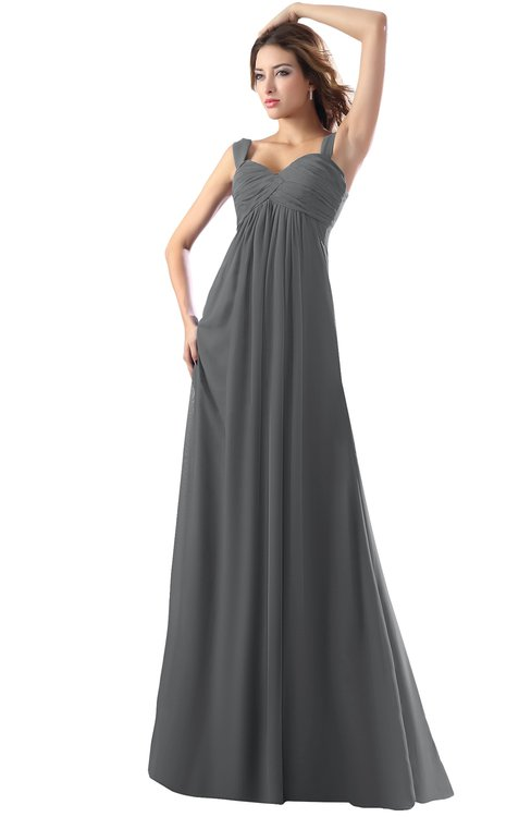 ColsBM Diana Grey Modest Empire Thick Straps Zipper Floor Length Ruching Prom Dresses
