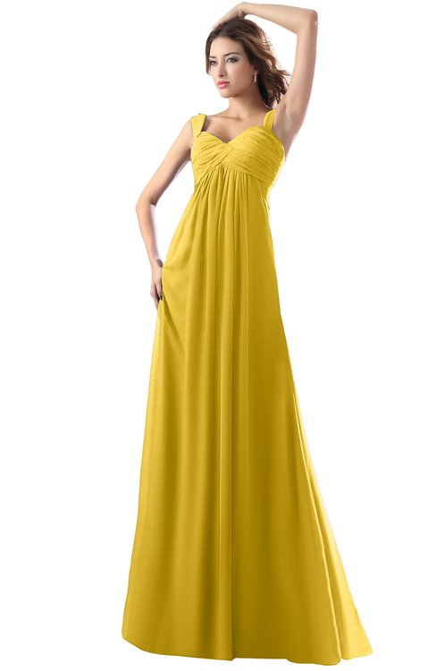 ColsBM Diana Lemon Curry Modest Empire Thick Straps Zipper Floor Length Ruching Prom Dresses