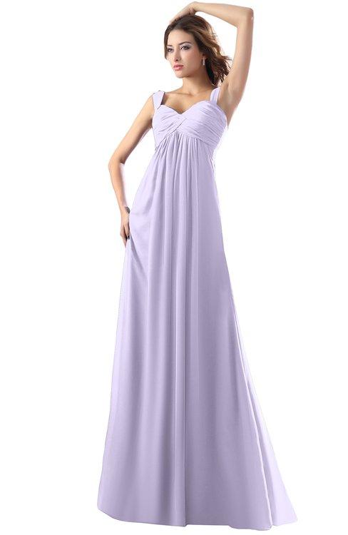 ColsBM Diana Light Purple Modest Empire Thick Straps Zipper Floor Length Ruching Prom Dresses