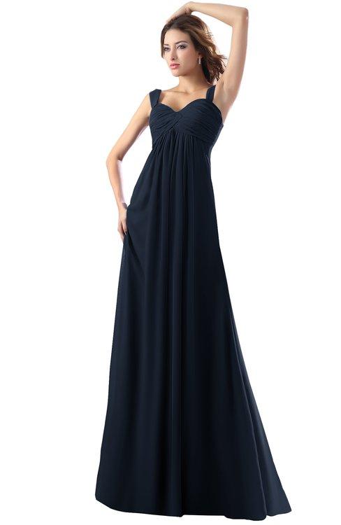 ColsBM Diana Navy Blue Modest Empire Thick Straps Zipper Floor Length Ruching Prom Dresses
