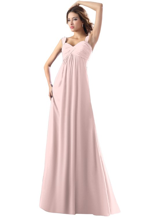 ColsBM Diana Pastel Pink Modest Empire Thick Straps Zipper Floor Length Ruching Prom Dresses