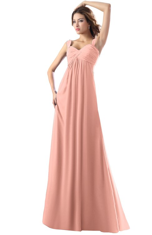 ColsBM Diana Peach Modest Empire Thick Straps Zipper Floor Length Ruching Prom Dresses