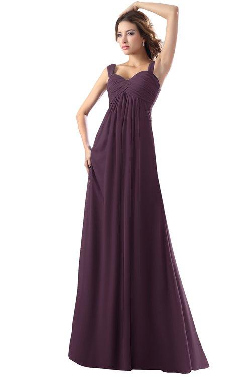 ColsBM Diana Plum Modest Empire Thick Straps Zipper Floor Length Ruching Prom Dresses