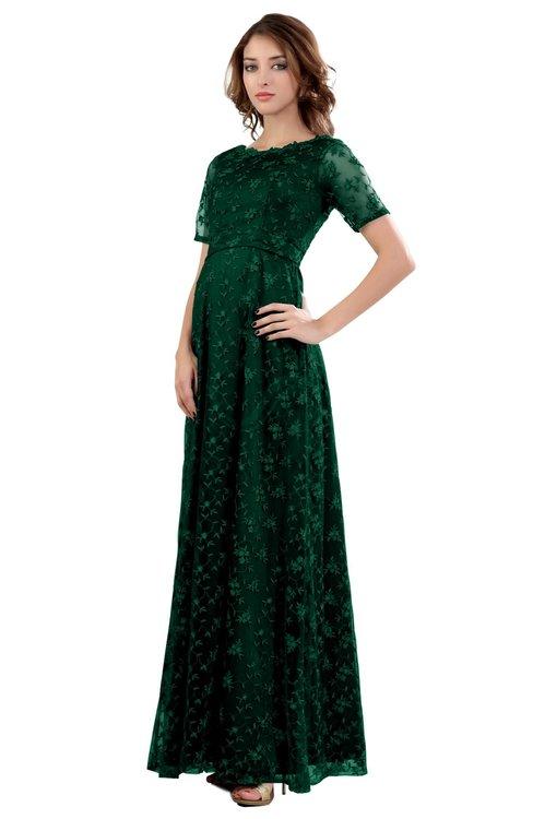 ColsBM Megan Alpine Green Gorgeous Column Scalloped Edge Short Sleeve Floor Length Lace Bridesmaid Dresses