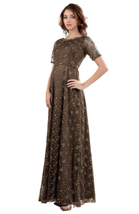 ColsBM Megan Bronze Brown Gorgeous Column Scalloped Edge Short Sleeve Floor Length Lace Bridesmaid Dresses
