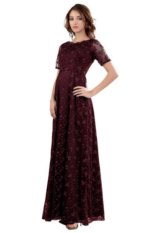 ColsBM Megan Burgundy Gorgeous Column Scalloped Edge Short Sleeve Floor Length Lace Bridesmaid Dresses