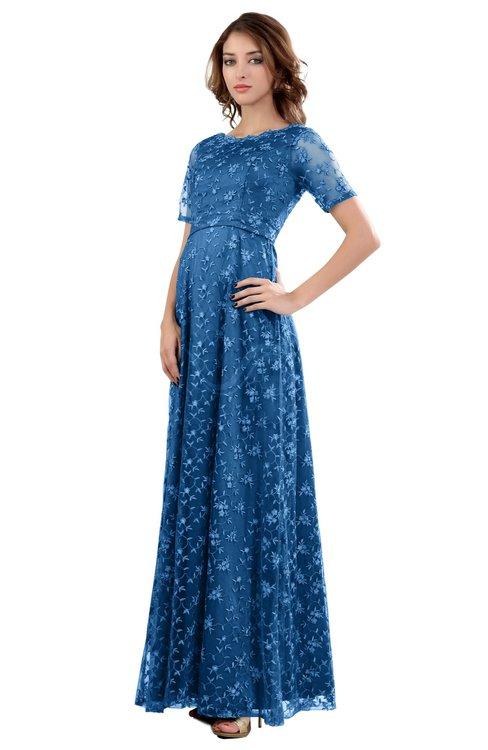 ColsBM Megan Campanula Gorgeous Column Scalloped Edge Short Sleeve Floor Length Lace Bridesmaid Dresses
