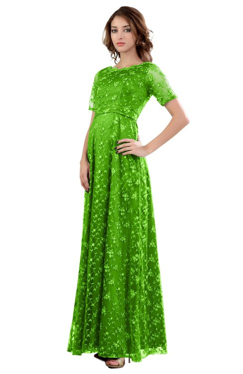 ColsBM Megan Classic Green Gorgeous Column Scalloped Edge Short Sleeve Floor Length Lace Bridesmaid Dresses