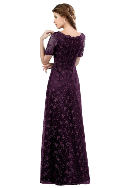 8192aecbd5e ... ColsBM Megan Plum Gorgeous Column Scalloped Edge Short Sleeve Floor  Length Lace Bridesmaid Dresses