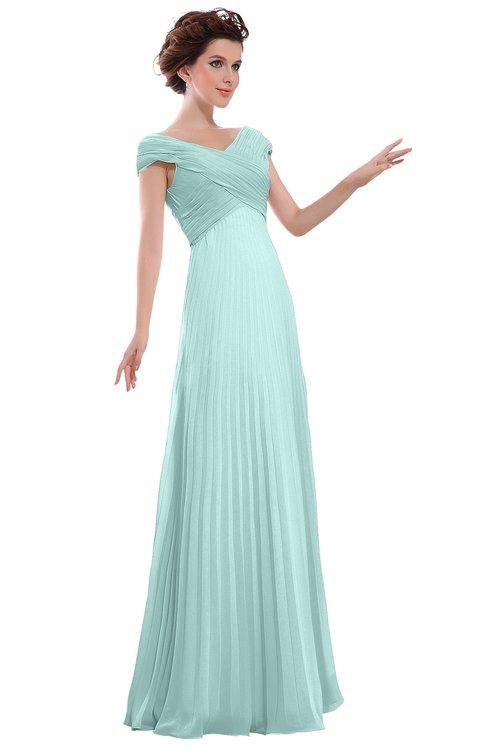 ColsBM Elise Blue Glass Casual V-neck Zipper Chiffon Pleated Bridesmaid Dresses