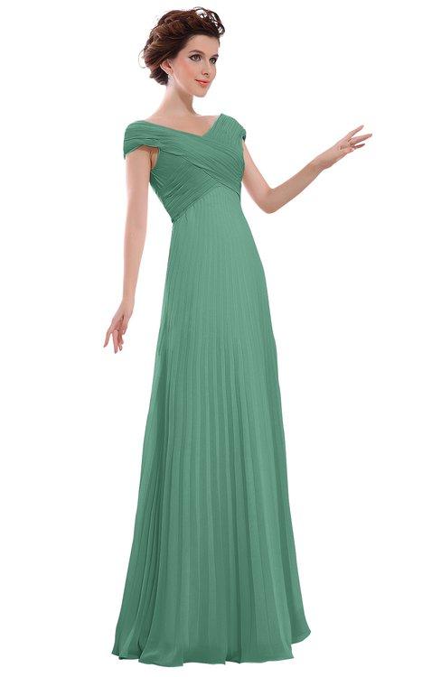 ColsBM Elise Bristol Blue Casual V-neck Zipper Chiffon Pleated Bridesmaid Dresses