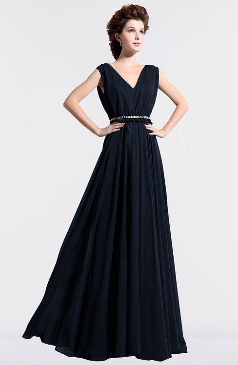 ColsBM Cordelia Navy Blue Vintage A-line Sleeveless Chiffon Floor Length Pleated Bridesmaid Dresses