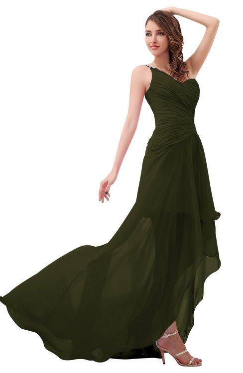 ColsBM Paige Beech Romantic One Shoulder Sleeveless Brush Train Ruching Bridesmaid Dresses