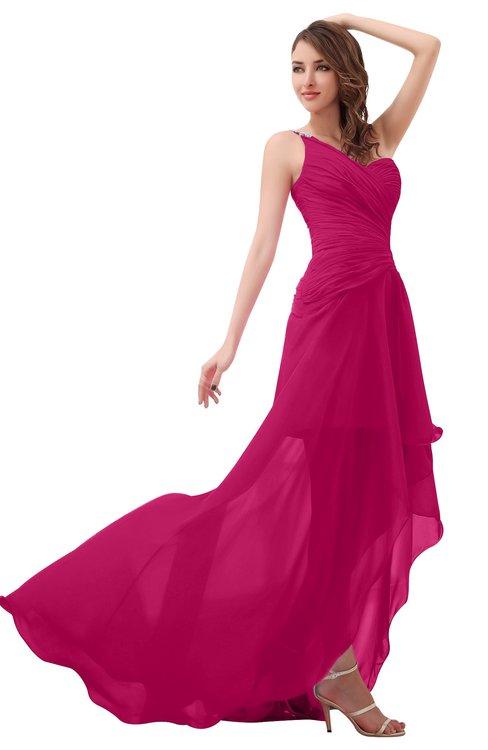 ColsBM Paige Beetroot Purple Romantic One Shoulder Sleeveless Brush Train Ruching Bridesmaid Dresses