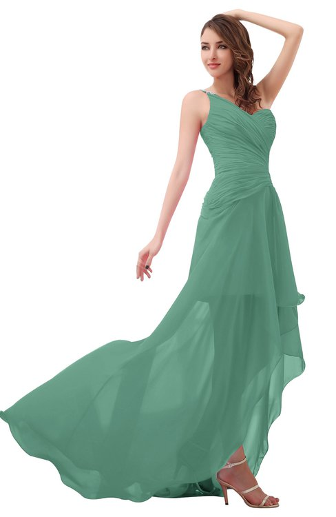 ColsBM Paige Beryl Green Romantic One Shoulder Sleeveless Brush Train Ruching Bridesmaid Dresses