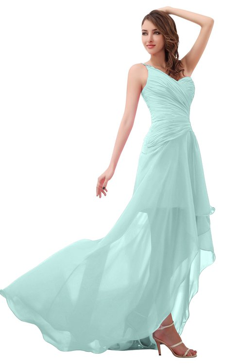ColsBM Paige Blue Glass Romantic One Shoulder Sleeveless Brush Train Ruching Bridesmaid Dresses