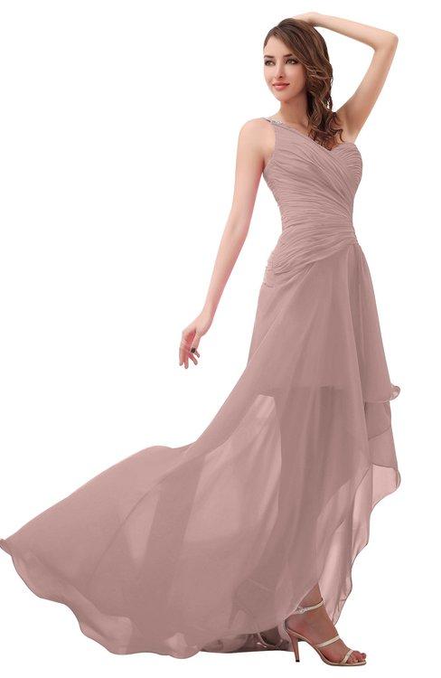 ColsBM Paige Blush Pink Romantic One Shoulder Sleeveless Brush Train Ruching Bridesmaid Dresses