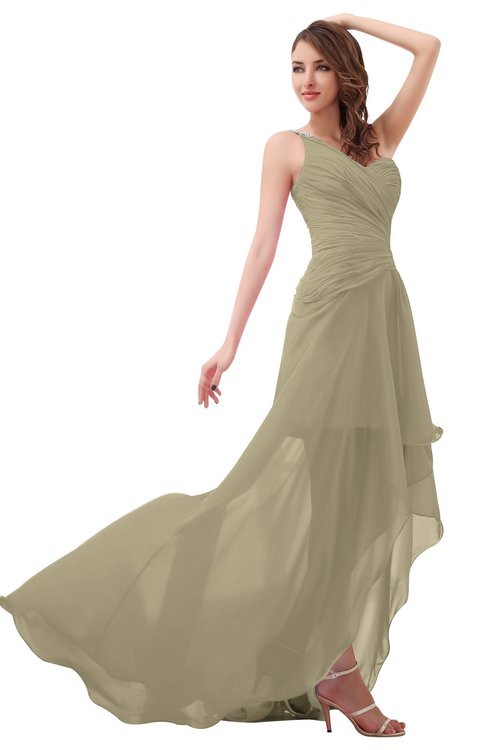 ColsBM Paige Candied Ginger Romantic One Shoulder Sleeveless Brush Train Ruching Bridesmaid Dresses