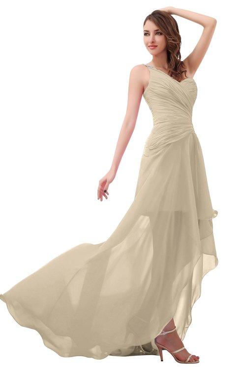 ColsBM Paige Champagne Romantic One Shoulder Sleeveless Brush Train Ruching Bridesmaid Dresses