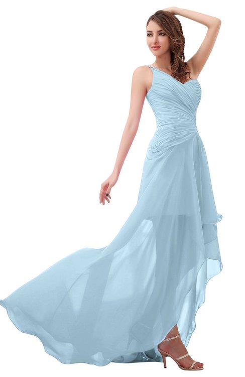 ColsBM Paige Ice Blue Romantic One Shoulder Sleeveless Brush Train Ruching Bridesmaid Dresses