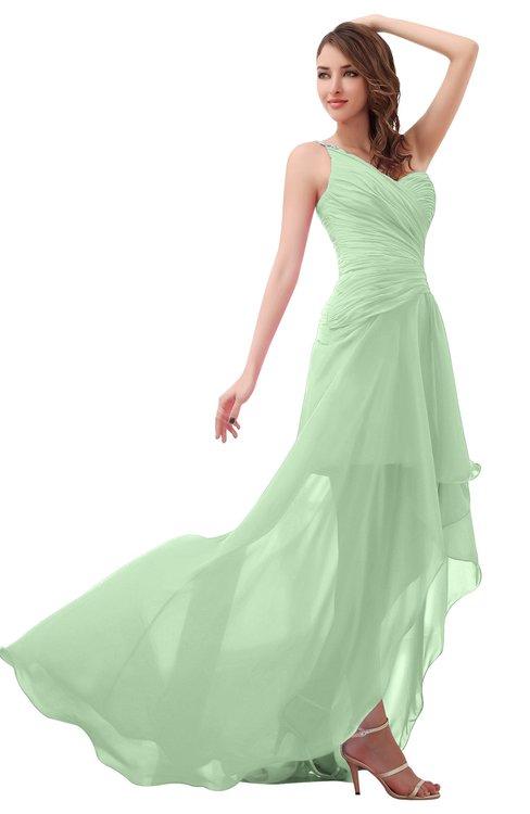 ColsBM Paige Light Green Romantic One Shoulder Sleeveless Brush Train Ruching Bridesmaid Dresses