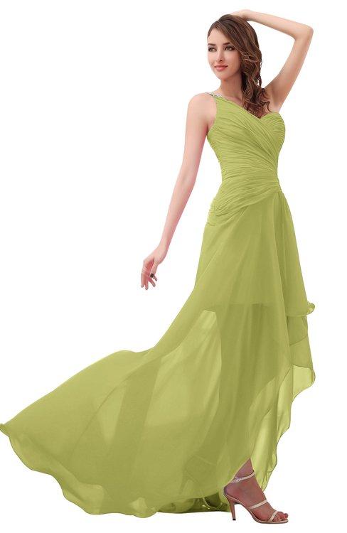 ColsBM Paige Linden Green Romantic One Shoulder Sleeveless Brush Train Ruching Bridesmaid Dresses