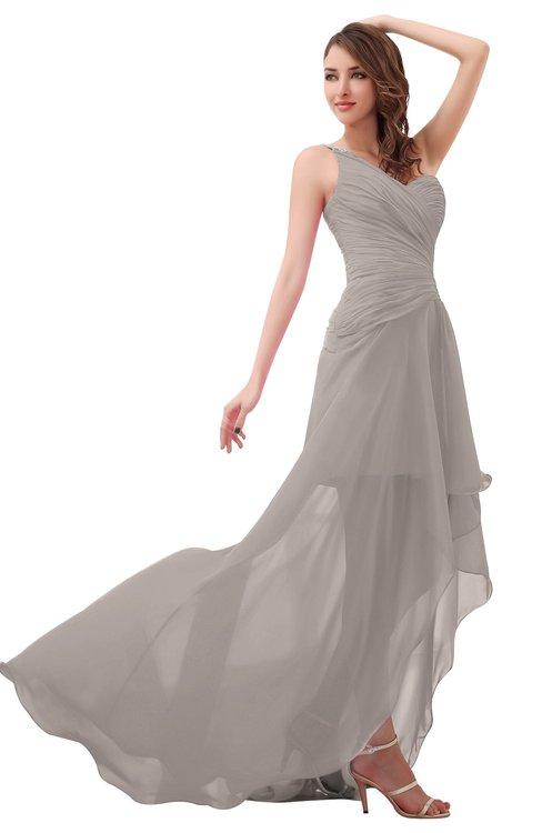 ColsBM Paige Mushroom Romantic One Shoulder Sleeveless Brush Train Ruching Bridesmaid Dresses
