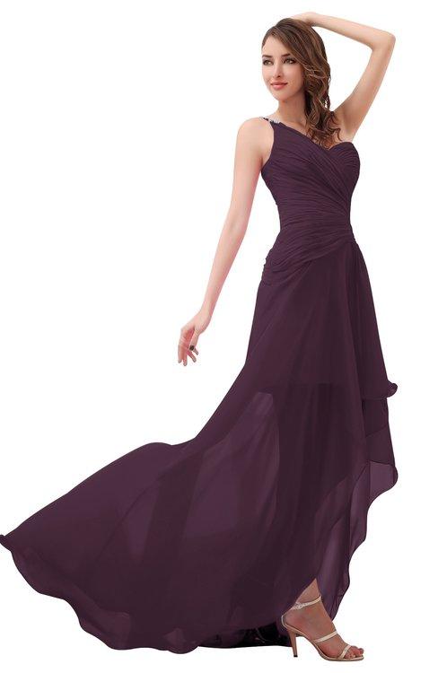 ColsBM Paige Plum Romantic One Shoulder Sleeveless Brush Train Ruching Bridesmaid Dresses