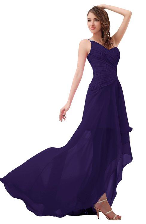 ColsBM Paige Royal Purple Romantic One Shoulder Sleeveless Brush Train Ruching Bridesmaid Dresses