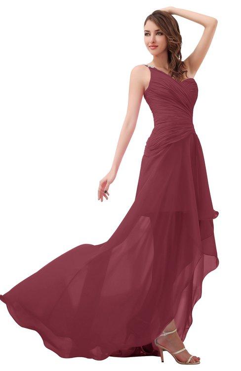 ColsBM Paige Wine Romantic One Shoulder Sleeveless Brush Train Ruching Bridesmaid Dresses