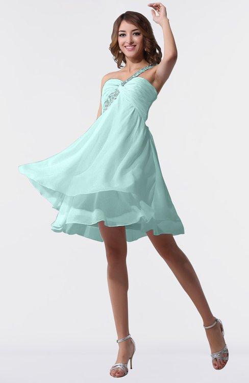 ColsBM Estelle Blue Glass Modest A-line One Shoulder Criss-cross Straps Short Ruching Bridesmaid Dresses