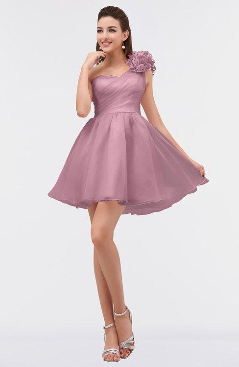 ColsBM Itzel Blush Elegant A-line Sleeveless Zip up Short Flower Bridesmaid Dresses