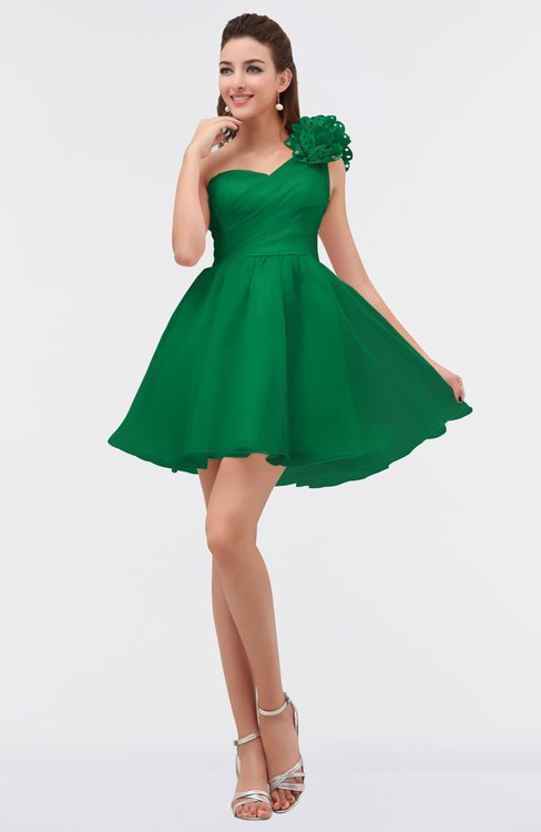 ColsBM Itzel Green Elegant A-line Sleeveless Zip up Short Flower Bridesmaid Dresses